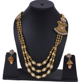Fine Kraft Gold Plated Pearl Studded Necklace Set - My Aashis
