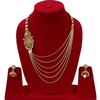 Designer Handcrafted Traditional  Golden Multilayered Necklace & Earring Set - My Aashis