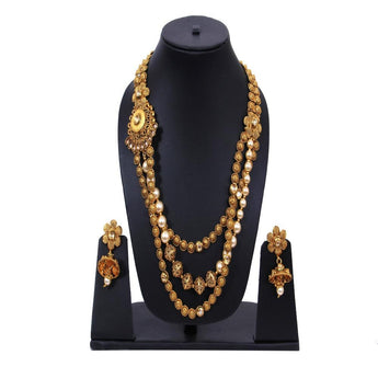 Indian Wedding Long Stone Multilayer Necklace Earrings Jewelry Set For Women