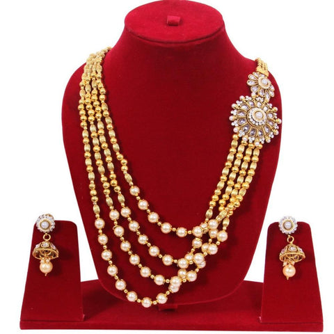Contemporary Designed Kundan Style Gold Plated Necklace Set - My Aashis