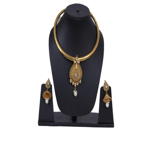 Gold Plated Choker Necklace Set For Women - My Aashis