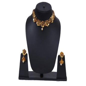 Gold Multi Statement Vintage Big Metal Party Flower Necklace and Earrings Set Accessories