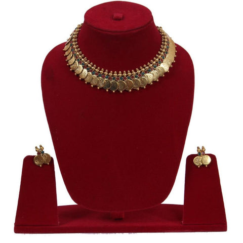 Collar Style Coin Tassel Necklace Set - My Aashis