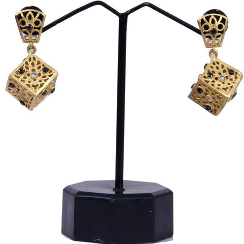 Signature Style Cube Drop Gold Toned Earrings - My Aashis