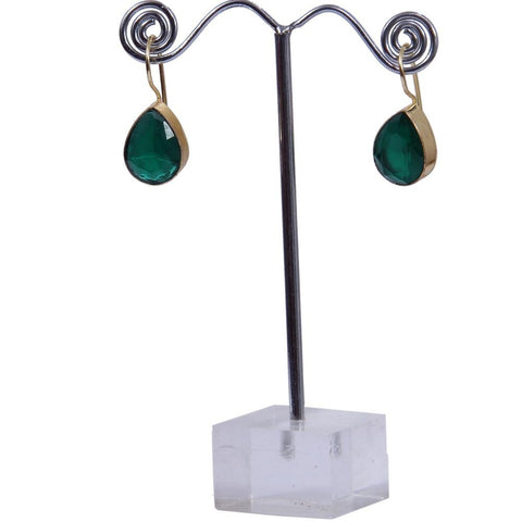 Gold-Tone with Black,Green and Yellow Stone Drop Hoop Earrings - My Aashis