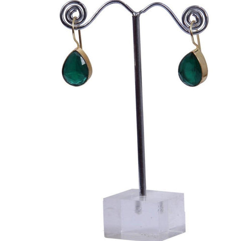 Green and yellow Crystal Pear Shape Dangle Earrings In Yellow Gold Tone - My Aashis