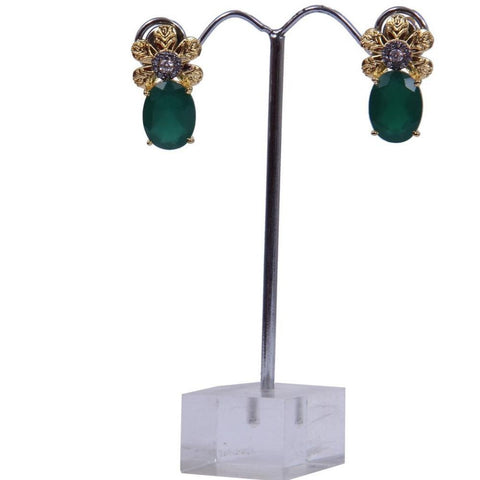 Gold Tone Emerald Stone Drop Stud Earrings - My Aashis