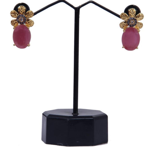 Filigree Flower Ruby Stone Dangling Stud Earring For Women - My Aashis