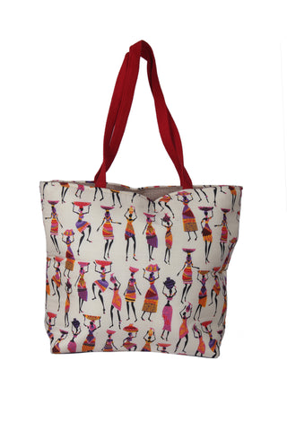 Handbag with ladies pattern