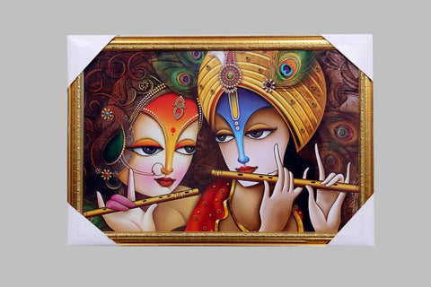 Wall Art Radha & Krishna with Flute Photo Frame Showpiece  (Wooden, Multicolor) - My Aashis