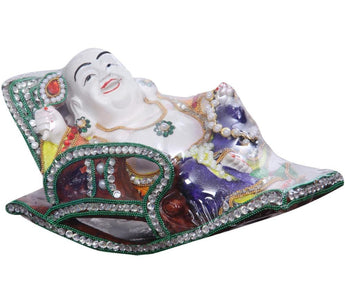 Fine White Porcelain Fengshui Happy Laughing Lucky Buddha, Sitting