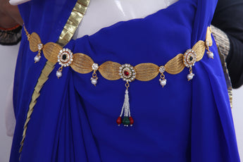Ethnic Style Gold Polish Maroon & Green Stone Studded Wedding Kamarband - My Aashis
