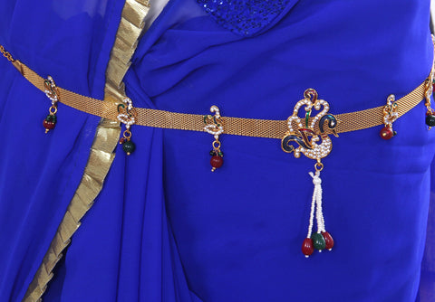 Peacock Design Gold Plated Imitation Bridal Waist Belt (Kamarband)