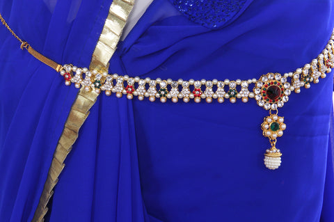 Multi colour Multi Liner Pearl Juda Waist Belly Hip Chain Belt Kamarband (Waist belt) - My Aashis