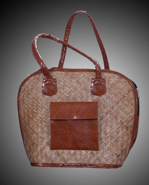 Coffee Colored Jute Hand Bag