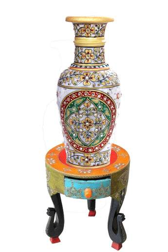 Golden Flower Vase with Marble Artwork - My Aashis