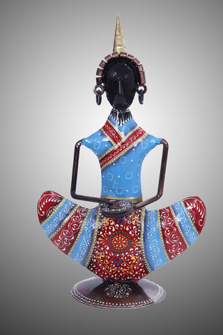 Vibrant And Superbly Crafted Metal Tribal Musician Dolls for Household Decoration - My Aashis