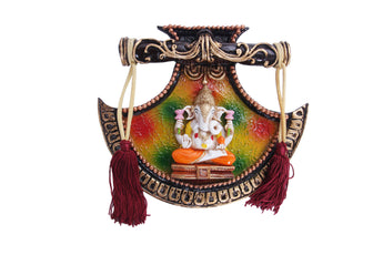 Embosed Rajasthani Handicraft Traditional Metal Lord Ganesha Pankhi