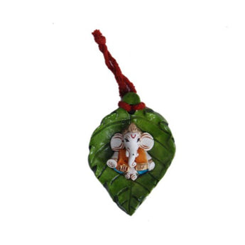 Brass Leaf Ganpati Wall Hanging - My Aashis