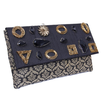 Traditional Geometric Design Party Handbag With Black Beads and brocade Work - My Aashis