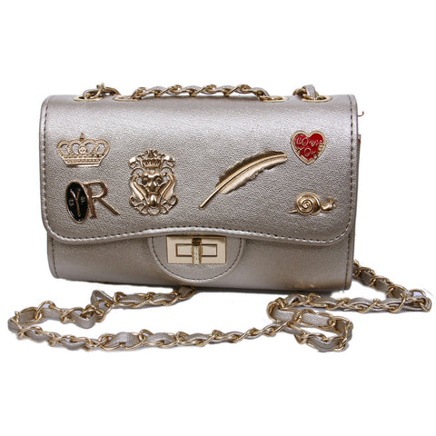 Women Silver Envelope Clutches Bag Metal Buckle Party HandBag - My Aashis