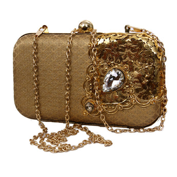 Womens Evening Golden Clutch Bag Wedding Purse Bridal Prom Handbag Party Bag Sparkling Handbag - My Aashis