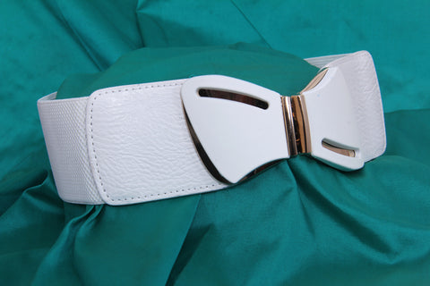 White Elasticated Belt - My Aashis