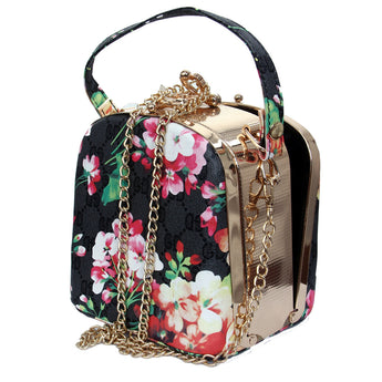 Flower Design  Party Clutch Purse Hard Case Handbag With Chain Strap