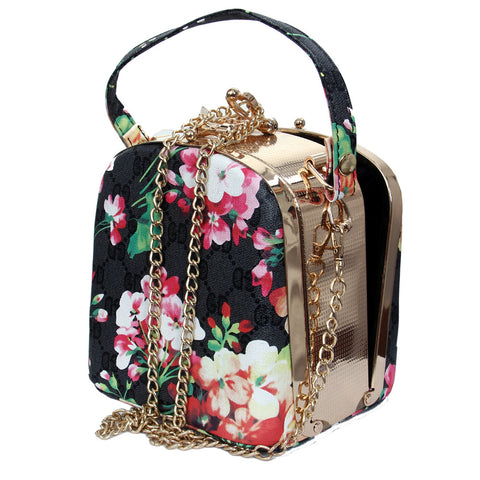 Flower Design  Party Clutch Purse Hard Case Handbag With Chain Strap - My Aashis