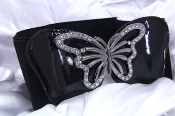 Designer Black Elasticated Waist Belt