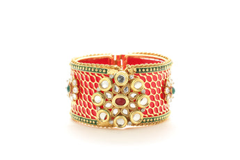 Ethnic Openable Red Plated Bracelet with Polki gift for Woman - My Aashis