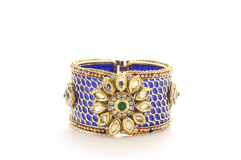 Ethnic Openable Blue plated With Polki Gift for Women - My Aashis