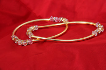 Stylish Pair of Golden Payal Anklet with White Beads For Girls Women