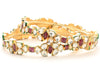 Goldtone polki work with Pink Color Stone Studded Bangles/Bracelet - My Aashis