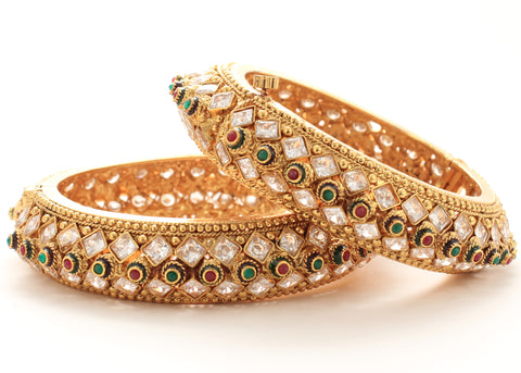 Gold Tone Ethnic Style Bangles made with Multicolor Polki and Cubic Zarcon - My Aashis
