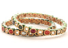 Goldtone Multi Color Stone and Polki studded Bangles