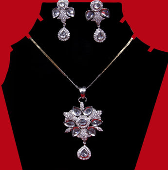 Zircon CZ Fashion Jewelry Set Pendant Earrings With Chain