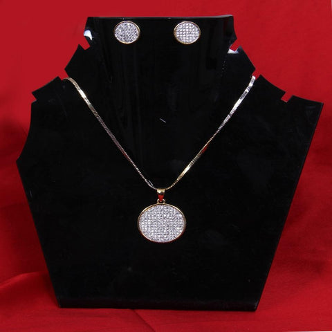 Gold Finish Earrings & Pendant Set with Chain - My Aashis