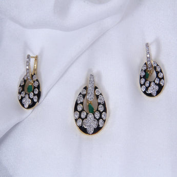 Gold-Toned & Black-Green Earrings & Pendant Set with Chain