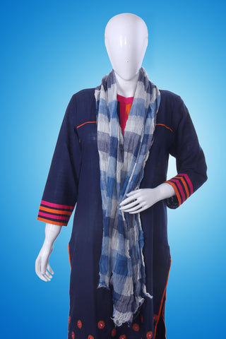 Bedazzle Blue Checkered Scarf - My Aashis