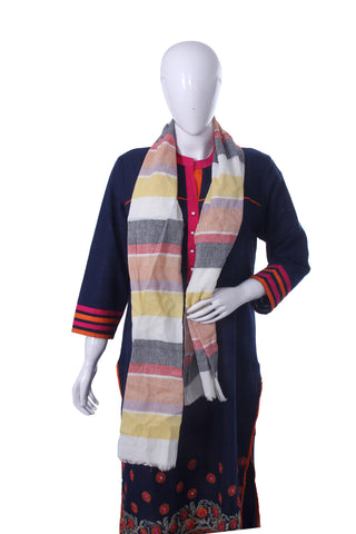 Off-White Striped Scarf - My Aashis