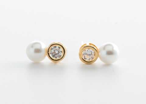 Kids White  Freshwater Pearl Cubic Zirconia Stud Earrings with Gold tone - My Aashis