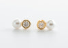 Kids White  Freshwater Pearl Cubic Zirconia Stud Earrings with Gold tone