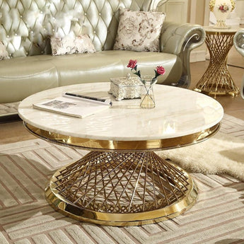 Attractive Steel Marble Top Coffee Table - My Aashis