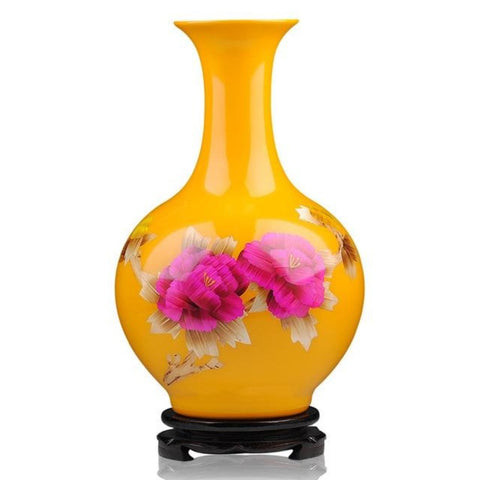 Modern Ceramic Yellow Gold Vase - My Aashis