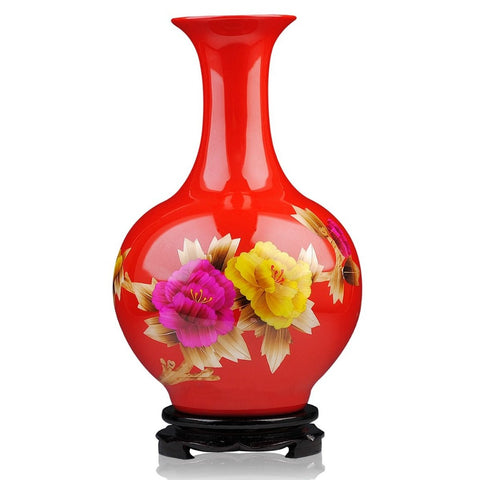 Modern Red Gold Straw Painting Vase