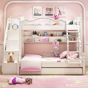 Girls Beautiful Cozy Wooden Modern Bunk Bed for Children - My Aashis