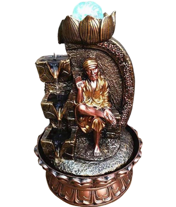 Shiny  Side Stone Sai Water Falling Statue - My Aashis