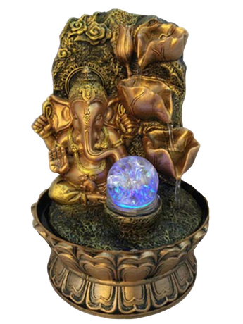 Ganesha Side Waterfalling Fountain For Indoor Space - My Aashis