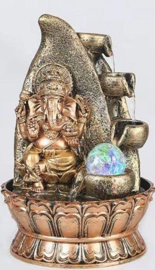 Ganesha LED Corner Waterfall Fountain